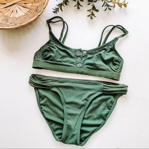 Emerald Green Semi-Cheeky Bikini Set